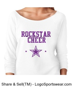Rockstar Cheer Purple Glitter on White Design Zoom
